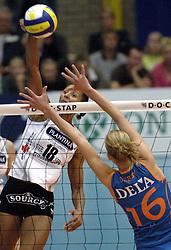 08-10-2006 VOLLEYBAL: SUPERCUP DELA MARTINUS - PLANTINA LONGA: DOETINCHEM<br /> Martinus wint vrij eenvoudig met 3-0 van Longa en pakt de Supercup / Nathalie Dambendzet<br /> ©2006: WWW.FOTOHOOGENDOORN.NL
