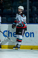 KELOWNA, BC - JANUARY 31: Turner McMillen #12 of the Kelowna Rockets warms up on the ice for his first WHL game against the Spokane Chiefs at Prospera Place on January 31, 2020 in Kelowna, Canada. (Photo by Marissa Baecker/Shoot the Breeze)