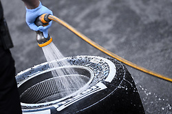 February 18, 2019 - Barcelona, Spain - A mechanic of Mercedes-AMG Petronas Motorsport, cleaning a Pirelli whell  during the first day of Formula One Test at Catalonia Circuit, on February 18, 2019 in Barcelona, Spain. (Credit Image: © Joan Cros/NurPhoto via ZUMA Press)