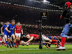 Josh Adams of Wales scores his sides second try<br /> <br /> Photographer Simon King/Replay Images<br /> <br /> Six Nations Round 1 - Wales v Italy - Saturday 1st February 2020 - Principality Stadium - Cardiff<br /> <br /> World Copyright © Replay Images . All rights reserved. info@replayimages.co.uk - http://replayimages.co.uk