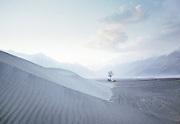 Camping in the sand dunes near Shigar town in Baltistan province, Karakoram mountains. Pakistan.