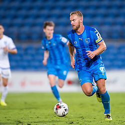 BRISBANE, AUSTRALIA - SEPTEMBER 20: Justyn McKay of Gold Coast City dribbles the ball during the Westfield FFA Cup Quarter Final match between Gold Coast City and South Melbourne on September 20, 2017 in Brisbane, Australia. (Photo by Gold Coast City FC / Patrick Kearney)