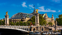 Pont Alexandre III (bridge) with the Grand Palais in background, Paris, France.