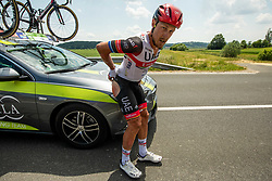 Injured Matteo TRENTIN of UAE TEAM EMIRATES during 1st Stage of 27th Tour of Slovenia 2021 cycling race between Ptuj and Rogaska Slatina (151,5 km), on June 9, 2021 in Slovenia. Photo by Vid Ponikvar / Sportida