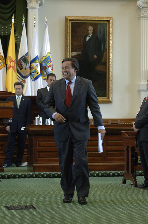 Austin, Texas August 25, 2006: New Mexico Governor BIll Richardson leaves the closing session of the Border Governor's Conference at the Texas Capitol.  The annual Border Governor's Assn. conference in Austin gives the six Mexican and four U.S. border governors a chance to discuss mutual issues of immigration, economics and border security issues. ©Bob Daemmrich /