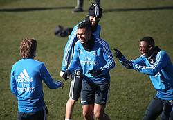 February 8, 2019 - Madrid, Spain - Real Madrid's Brazilian midfielder Casemiro  (C) attends a training session at the club's training ground in the outskirts of Madrid on February 8, 2019 Before The Liga match against Atletico Madrid. (Credit Image: © Raddad Jebarah/NurPhoto via ZUMA Press)