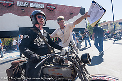 Paul Jung of Germany on the 1915 Harley-Davidson entry from W and W Cycles of Wurzburg as he arrives at the hosted lunch stop at Temecula Harley-Davidson on the last day of the Motorcycle Cannonball Race of the Century. Stage-15 ride from Palm Desert, CA to Carlsbad, CA. USA. Sunday September 25, 2016. Photography ©2016 Michael Lichter.