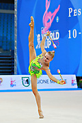 Tikkanen Jouki during qualifying at clubs in Pesaro World Cup 11 April 2015. Jouki was born July 05, 1995. She is a Finnish individual rhythmic gymnast.