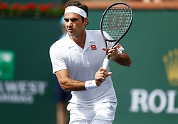 March 10, 2019 - Indian Wells, CA, U.S. - INDIAN WELLS, CA - MARCH 10: Roger Federer (SUI) runs for the ball during the second round of the BNP Paribas Open on March 10, 2019, at the Indian Wells Tennis Gardens in Indian Wells, CA. (Photo by Adam Davis/Icon Sportswire) (Credit Image: © Adam Davis/Icon SMI via ZUMA Press)