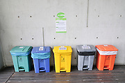 Waste Separation and recycling bins Photographed in Barcelona Spain