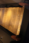 Israel, Jerusalem, The Israel Museum ancient Torah scroll .