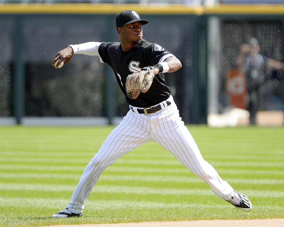 CHICAGO - APRIL 26:  Tim Anderson #7 of the Chicago White Sox fields against the Kansas City Royals on April 26, 2017 at Guaranteed Rate Field in Chicago, Illinois.  The White Sox defeated the Royals 5-2.  (Photo by Ron Vesely)   Subject:  Tim Anderson