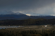 Snowcapped mountains and hut in Torres del Paine National Park, Chile