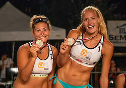 during the winner celebration on Beach volley National Championship of Slovenia  on July 20, 2019 in Kranj, Slovenia. Photo by Urban Meglic / Sportida