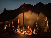 Evening inside a tent of a nomad's camp on edge of Lut Desert.