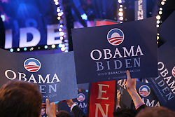 """""""Obama - Biden"""" signs on the floor of the Democratic National Convention, Pepsi Center, Denver, Colorado, August 27, 2008."""