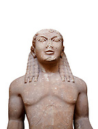 Archaic Ancient Greek marble statue of a Kouros, one of the Twins of Argos sculpted in the Argos archaic workshop circa 580 BC, Delphi National Archaeological Museum.  Against white.