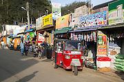 Shops and tuk-tuk taxi, Haputale, Badulla District, Uva Province, Sri Lanka, Asia
