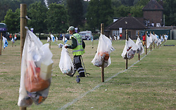 Rubbish bags in Wimbledon Park on day three of the Wimbledon Championships at the All England Lawn Tennis and Croquet Club, Wimbledon.