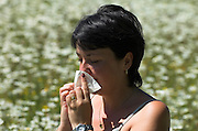 Young woman in field of oxyeye daisies, sneezing into tissue, hayfever, pollen effects