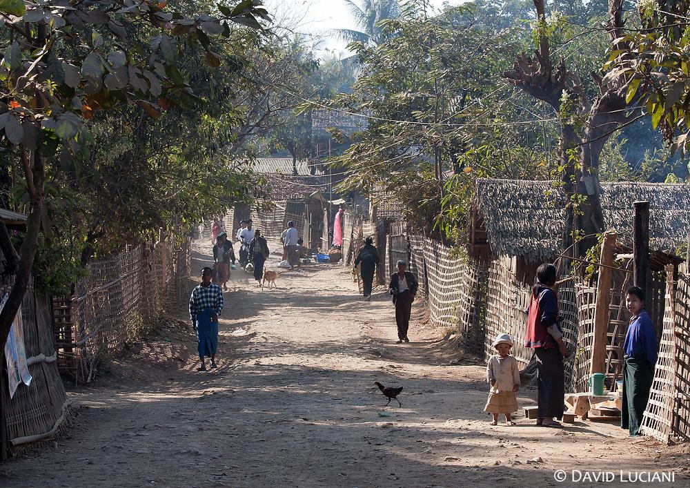 A morning street scene in Mrauk U.