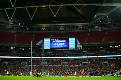 The 61,428 crowd is announced during the second half of the match - Photo mandatory by-line: Rogan Thomson/JMP - Tel: 07966 386802 - 18/10/2013 - SPORT - RUGBY UNION - Wembley Stadium, London - Saracens v Toulouse - Heineken Cup Round 2.
