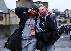Abi Harrison of Bristol City Women and Aimee Palmer of Bristol City Women arrives at Twerton Park prior to kick off - Mandatory by-line: Ryan Hiscott/JMP - 13/12/2020 - FOOTBALL - Twerton Park - Bath, England - Bristol City Women v West Ham United Women - Barclays FA Women's Super League