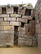 The Incan ruins of a temple at Machu Picchu,with a Southern Viscacha in a niche, near Aguas Calientes, Peru.