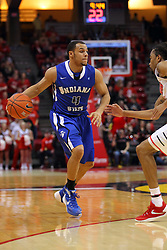 17 February 2016: Tony Wills(12) defends Brenton Scott at the perimeter during the Illinois State Redbirds v Indiana State Sycamores at Redbird Arena in Normal Illinois (Photo by Alan Look)