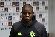 Ngolo Kante of Chelsea arrives at the stadium. Premier league match, Burnley v Chelsea at Turf Moor in Burnley, Lancs on Sunday 12th February 2017.<br /> pic by Chris Stading, Andrew Orchard Sports Photography.