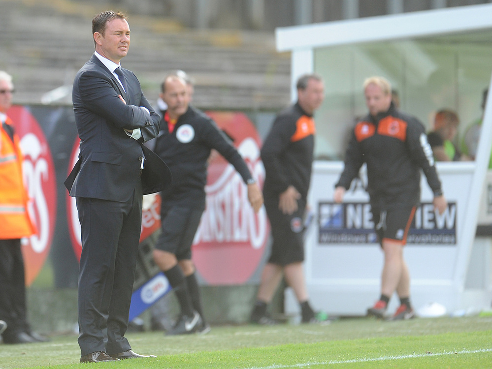 Plymouth Argyle manager Derek Adams <br /> <br /> Photographer Kevin Barnes/CameraSport<br /> <br /> The EFL Sky Bet League One - Plymouth Argyle v Blackpool - Saturday 15th September 2018 - Home Park - Plymouth<br /> <br /> World Copyright © 2018 CameraSport. All rights reserved. 43 Linden Ave. Countesthorpe. Leicester. England. LE8 5PG - Tel: +44 (0) 116 277 4147 - admin@camerasport.com - www.camerasport.com