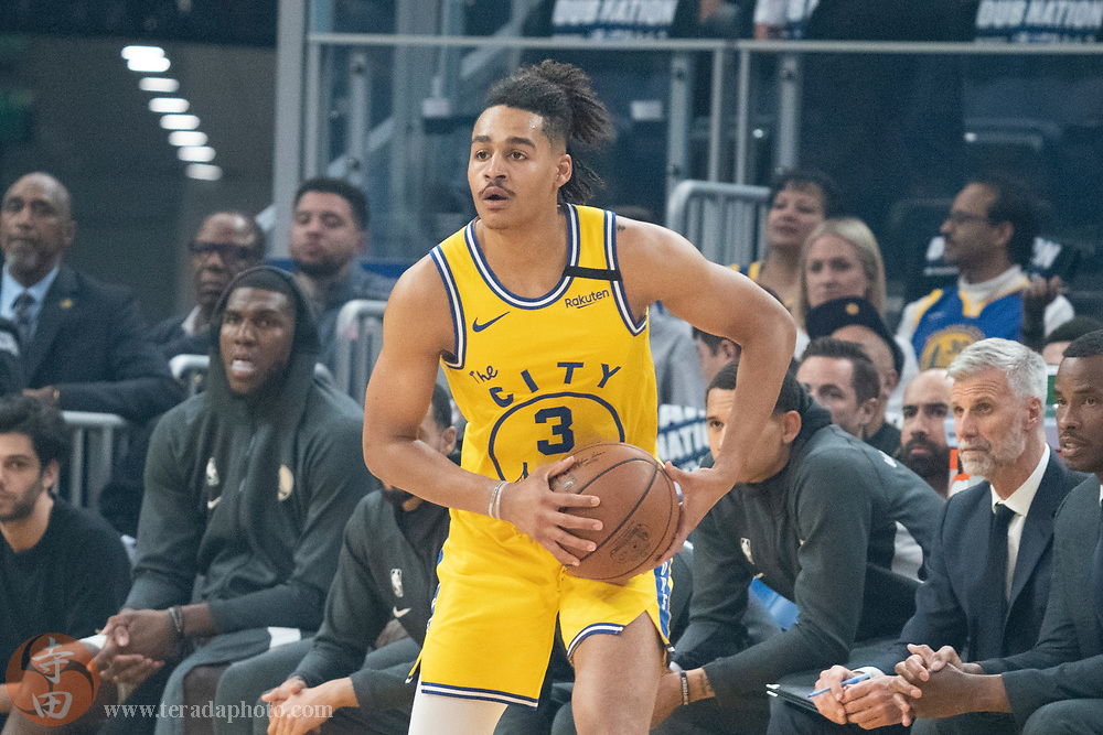 February 27, 2020; San Francisco, California, USA; Golden State Warriors guard Jordan Poole (3) during the first quarter against the Los Angeles Lakers at Chase Center.