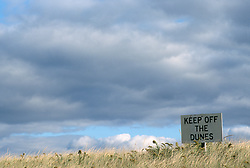 Beach notice to keep off the dunes in East Hampton,NY