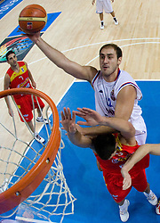 Rudy Fernandez of Spain vs Nenad Krstic of Serbia during the basketball match at 1st Round of Eurobasket 2009 in Group C between Spain and Serbia, on September 07, 2009 in Arena Torwar, Warsaw, Poland. (Photo by Vid Ponikvar / Sportida)