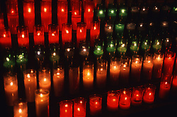 Candles lit in Catholic Cathedral; Barcelona,