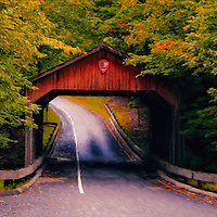 """""""Autumn Covered Bridge Painting"""" <br /> <br /> A lovely digital oil painting of the scenic covered bridge on Pierce Stocking Drive located in Sleeping Bear Dunes National Lake Shore."""