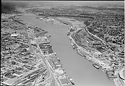"""Aerials. Portland harbor downriver from Broadway bridge. July 6, 1952"""