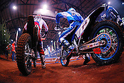 David Knight #101 and Ty Davis #14 lined up at start of 2008 Maxxis AMA Endurocross at the Lazy E Arena in Guthrie, OK.  David Knight won event.