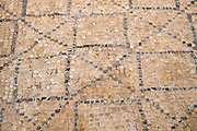 """Israel, Bet Shean (Scythopolis). In 64 BCE it was taken by the Romans, rebuilt, and made the capital of the Decapolis, the """"Ten Cities"""" of Samaria that were centers of Greco-Roman culture. Mosaic Floor"""