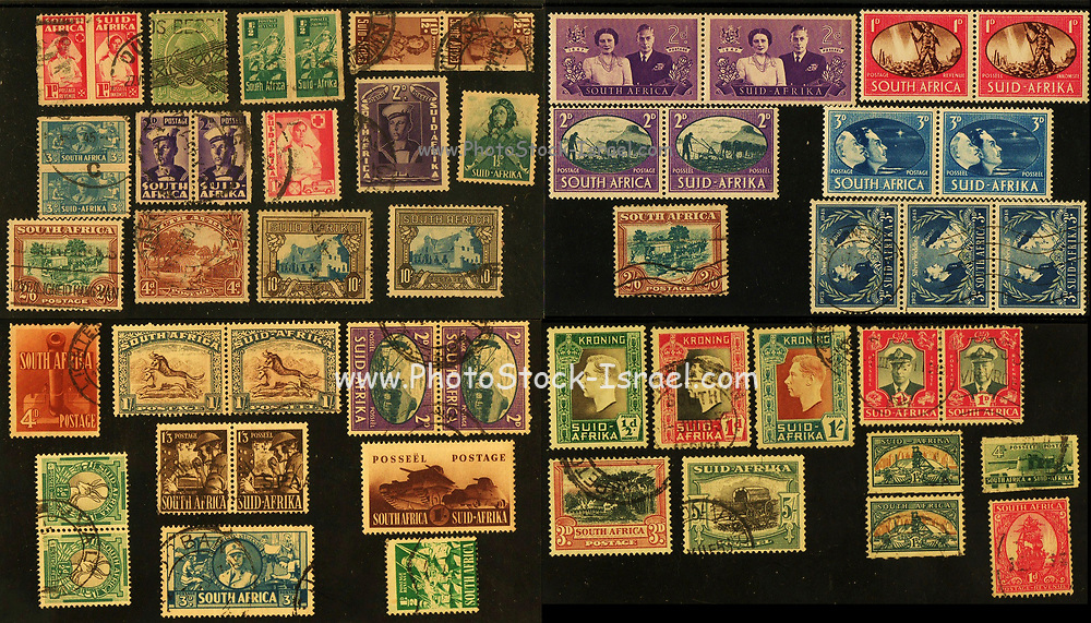 An assortment of vintage South African Postage stamps