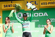 Podium, Hotess, miss, Peter Sagan (SVK - Bora - Hansgrohe) Green Jersey, during the 105th Tour de France 2018, Stage 17, Bagneres de Luchon - Col du Portet (65 km) on July 25th, 2018 - Photo Luca Bettini / BettiniPhoto / ProSportsImages / DPPI