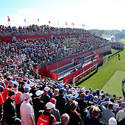 Ryder Cup 2016. Lee Westwood of Europe plays his tee shot on the first tee in front of a packed early morning gallery during practice day at the Hazeltine National Golf Club on September 29, 2016 in Chaska, Minnesota.  (Photo by Tim Clayton/Corbis via Getty Images)