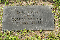31 August 2017:   Veterans graves in Park Hill Cemetery in eastern McLean County.<br /> <br /> Earl J Bell  Illinois Corp 60 REGT CAC September 22 1939