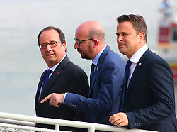 BRATISLAVA, Sept. 17, 2016 (Xinhua) -- French President Francois Hollande (L), Belgian Prime Minister Charles Michel (C) and Luxembourg's Prime Minister Xavier Bettel arrive at a wharf by the Danube river on the sidelines of an informal European Union (EU) summit in Bratislava, Slovakia, Sept. 16, 2016. EU members on Friday issued a joint declaration, formulating a road map for the bloc to tackle challenges, said Slovak Prime Minister Robert Fico. (Xinhua/Gong Bing) (wtc) (Credit Image: © Gong Bing/Xinhua via ZUMA Wire)