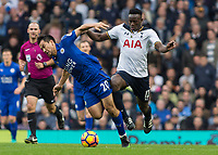 Football - 2016 / 2017 Premier League - Tottenham Hotspur vs. Leicester City<br /> <br /> Victor Wanyama of Tottenham knocks Shinji Okazaki of Leicester City off the ball as he breaks away at White Hart Lane.<br /> <br /> COLORSPORT/DANIEL BEARHAM