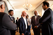 """MUMBAI, INDIA – JANUARY 17, 2020: High profile Indian business leaders visit with Amazon president Jeff Bezos following the company's announcement of an additional US $10 billion investment in India – one of the company's fastest-growing markets. """"The 21st Century is going to be an Indian century,"""" Bezos said during his tour of the country, touting the country's dynamism, energy and commitment to democracy as indicators of future growth."""
