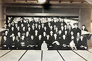 group meeting portrait of corporation gathering Japan 1940s