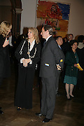 The Begum Inaara Aga Khan and Simon de Pury, Georg Baselitz, Royal Academy. 18 September 2007. -DO NOT ARCHIVE-© Copyright Photograph by Dafydd Jones. 248 Clapham Rd. London SW9 0PZ. Tel 0207 820 0771. www.dafjones.com.