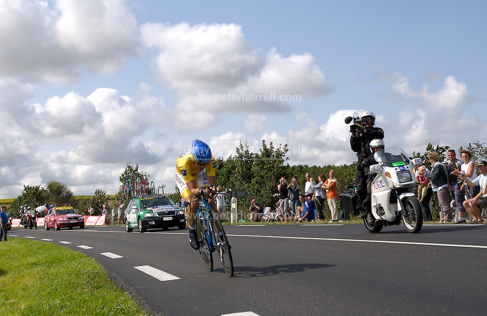 FRANCE 28th JULY 2007: Wearing the race leader's maillot jaune, Discovery Channel's Alberto Contador was the last man to start the final time trial from Cognac to Angouleme.