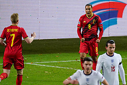LEUVEN, BELGIUM - Sunday, November 15, 2020: Belgium's Youri Tielemans celebrates after scoring the first goal during the UEFA Nations League Group Stage League A Group 2 match between England and Belgium at Den Dreef. Belgium won 2-0. (Pic by Jeroen Meuwsen/Orange Pictures via Propaganda)